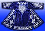STUNNING UZBEK SILVER SILK EMBROIDERED ROBE CHAPAN FROM BUKHARA T775