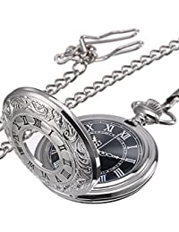 Vintage Roman Numerals Scale Quartz Pocket Watch with Chain (Silver)