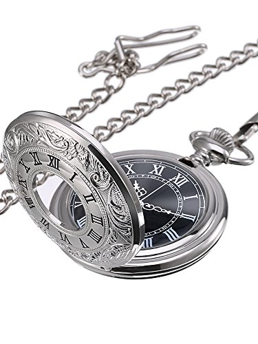 Mudder Vintage Roman Numerals Scale Quartz Pocket Watch with Chain (Silver)