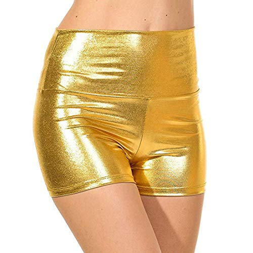 Alvivi Womens Sexy Shiny Metallic High Waist Shorts Hot Pants Dance Yoga Booty Shorts Clubwear