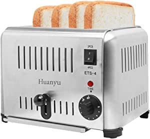 Huanyu 4-Slice 1800W Commercial Toaster Stainless Steel 5 Gears 4 Slot Electric Automatic Toast Oven Household Breakfast Helper (220V)