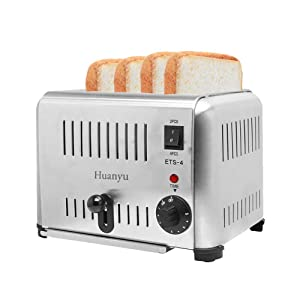 Huanyu 4-Slice 1800W Commercial Automatic Toaster Stainless Steel 5 Gears 4 Slot Electric Toast Oven Household Breakfast Helper (110V)