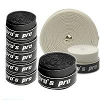 10 Griffbänder Pros Pro für Tennis, Badminton, Squash (schwarz)