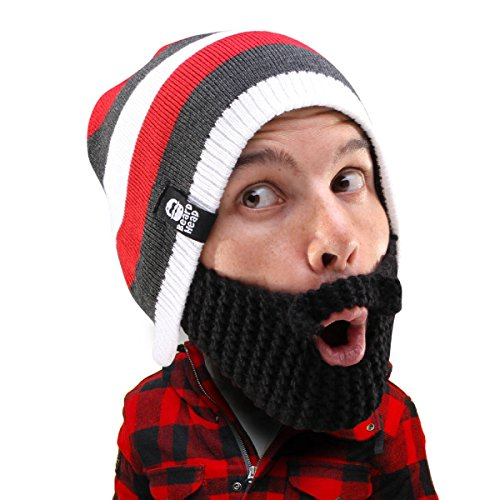 Beard Head Stubble Cruiser Beard Beanie - Funny Knit Hat and Fake Beard Facemask Black -