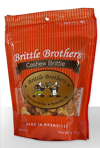 Brittle Brothers Cashew Brittle, 5 Ounce Artificial Peanut Brittle