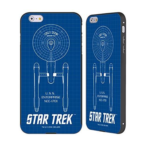 Officiel Star Trek USS Entreprise NCC-1701 Les Bateaux De La Ligne TOS Noir Étui Coque Aluminium Bumper Slider pour Apple iPhone 6 Plus / 6s Plus