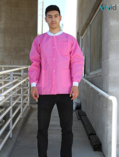 Premium Quality SMS Jacket for Medical Professionals, Made of SMS Soft Fabric 3 Layer, Lab Jacket Prevents Static, Latex Free, (10-pack) (Large, Pink) by VIVID (Image #1)