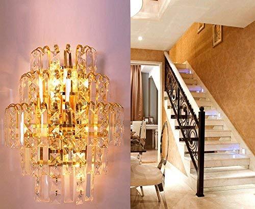 AOXISHIYE クリスタルledランプ現代のミニマリストのリビングルームダイニングルームの寝室の壁ランプライト (Color : Gold) B07T4THX5M Gold