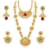 Palash Flattering Combo Of Two Gold Plated Haram And Semi Long Necklases Sets Whit Checkers And Multicolor Stones For Women