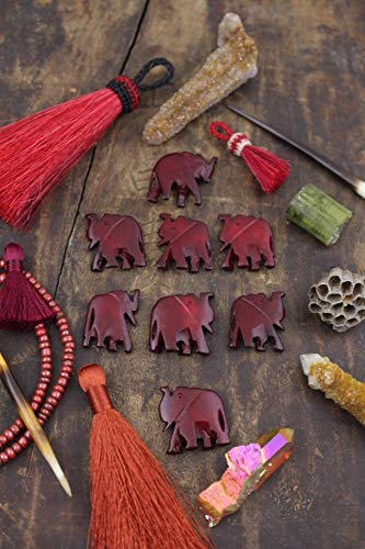 Herd of Burgundy Elephants : Hand Carved Bone Focal Beads, 26x38mm, Nature Animal Lover Jewelry Making Supplies, Charm, Totem, 8 pcs #WSW_9052