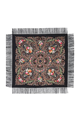 Ladies Floral Shawl With Tassels Ukrainian Polish Russian Head Scarf 43'' x 43'' (black) by Nothing But Love (Image #2)