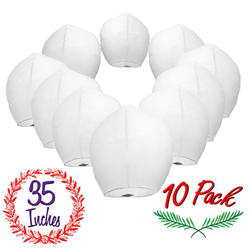 Chinese Sky Lanterns White Paper (10) Pack - Ready to Use and Eco Friendly - Extra Large - 100% Biodegradable - Beautiful Night Sky Lantern for Weddings, Chinese Festival, Memorials, etc. (Lantern Sized Sky)