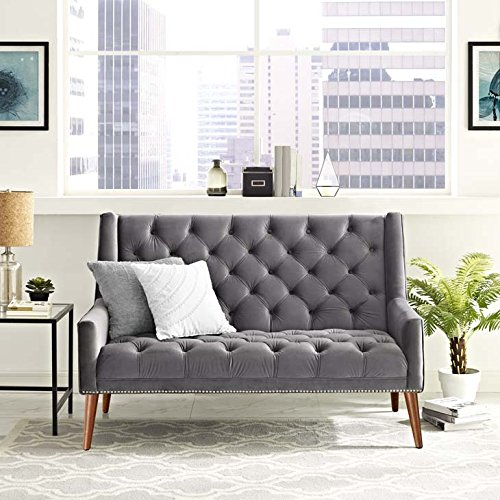Modway Peruse Velvet Loveseat in Gray