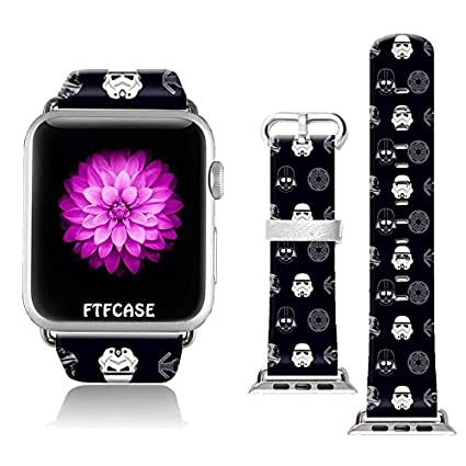 FTFCASE Compatible with Apple Watch Band 38mm 40mm, Soft Leather Replacement Sport Bands Compatible with iWatch 38mm 40mm Series 4/3/2/1 - The Cartoon ...