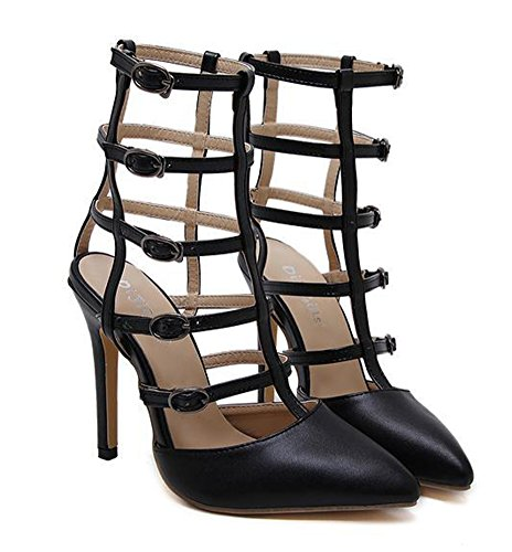 Aisun Womens Unique Strappy Cutout Pointed Toe Dress Buckled Stiletto High Heel Gladiator Ankle High Boot Sandals Black 7kLpVfPwPf