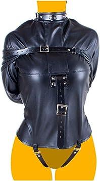 Camisa de fuerza de cuero PU BDSM arnés de esclavitud mujeres adultas juegos de pareja sexual Elegante chaqueta recta fetiche de disfraces de halloween,Negro: Amazon.es: Salud y cuidado personal