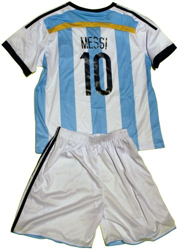 FWC-2014-Argentina-Home-Messi-10-Futbol-Football-Soccer-Kids-Jersey-Short