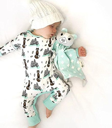 Newborn Baby Boys Girls Clothing Sets Cartoon Fox Trees Printing Romper Jumpsuit (White, 6-12 month) ()