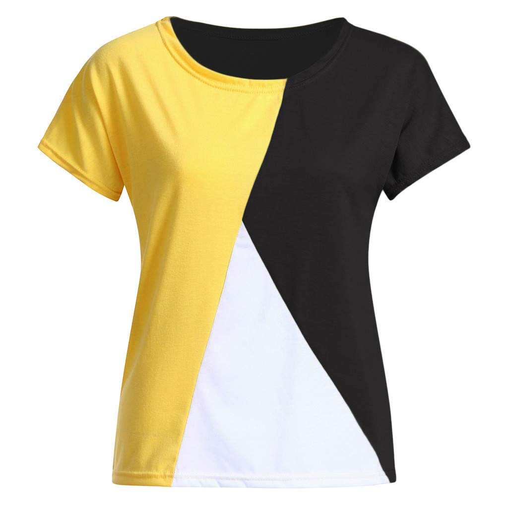 Libermall Women's Casual Summer Short Sleeve T-Shirts Irregular Color Patchwork Loose Tunic Shirt Blouse Tops Black by Libermall Blouses (Image #3)