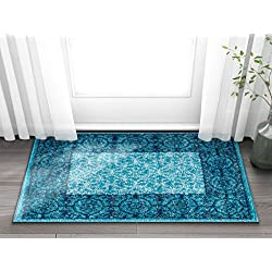 Well Woven Casa Tuscany Light Blue & Grey Modern Classic Mediterranean Tile Border Floral 2 x 3 (2' x 3') Area Rug Soft Shed Free Easy to Clean Stain Resistant