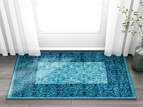 Well Woven Casa Tuscany Light Blue & Grey Modern Classic Mediterranean Tile Border Floral 2 x 3 (2