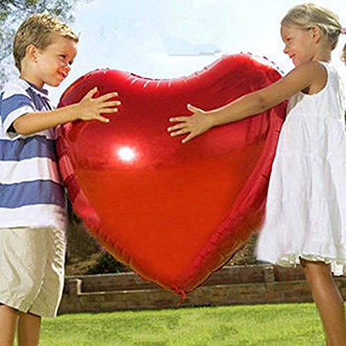 AnnoDeel 2 pcs 32inch Huge Red Heart Balloons, Romantic Large Heart foil Balloons for Wedding Decorations Love Balloons Party Decorations ()