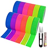 12 Pack UV Blacklight Reactive 6 Color Fluorescent Tape Fluorescent Cloth Tape Colorful Neon Gaffer Tape Neon Reflective Tape Neon Adhesive Tape Glow in The Dark Tape, 0.59'x16.4ft Each Roll