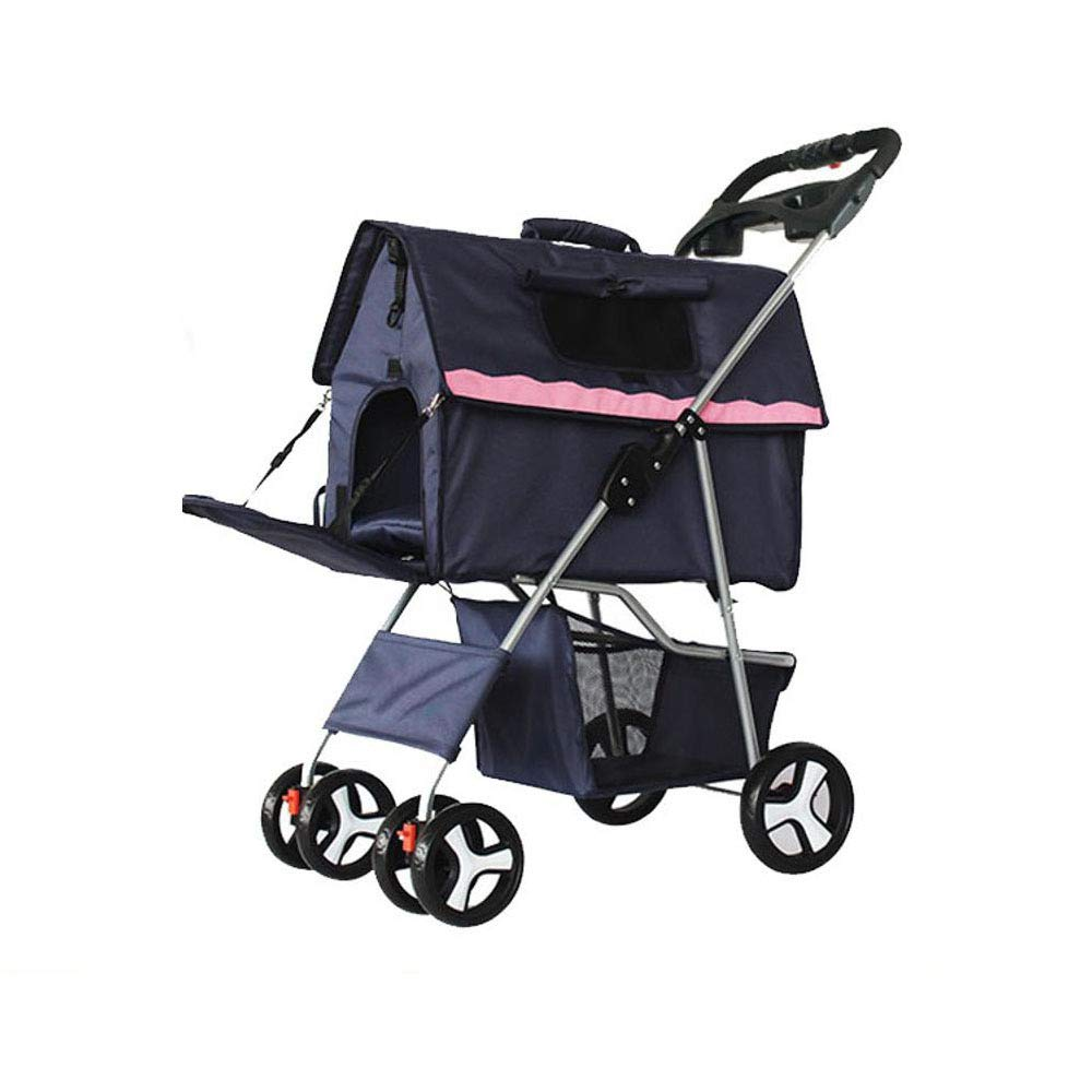 Daeou Pet StrollerDog cart folding four wheel trolley cart light