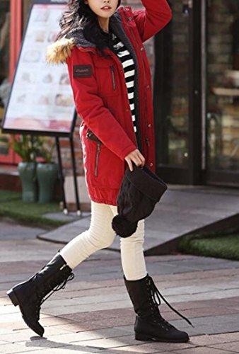 Giacche Pelliccia uk Sintetica Cappuccio Oggi Foderato Con Maschile Cappotto Caldo Inverno Rosse Outwear In vwq7cgI