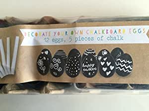 Decorate your own Easter Eggs Kids Craft Kit 12 black eggs and 5 chalk