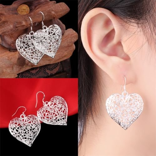 Alicenter(TM) Women 925 Sterling Silver Vintage Hollow Heart Dangle Hook Earrings Jewelry