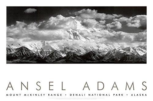 Adams Art Ansel - Mt. McKinley Range, Clouds, Denali National Park, Alaska, 1948 Art Poster Print by Ansel Adams, 36x24 Photography Art Poster Print by Ansel Adams, 36x24