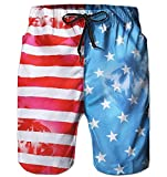 Alistyle Men's 3D American Flag Print Short Quick Dry Surfing Boardshorts with Pocket
