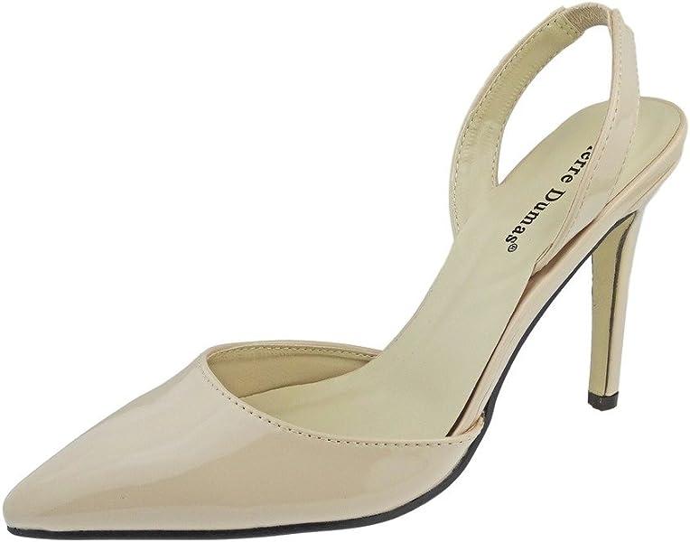 cbfb72bff45 Women's Cherry-4 Vegan Leather Pointed-Toe D'Orsay Slingback Dress Pump  Stiletto Heels