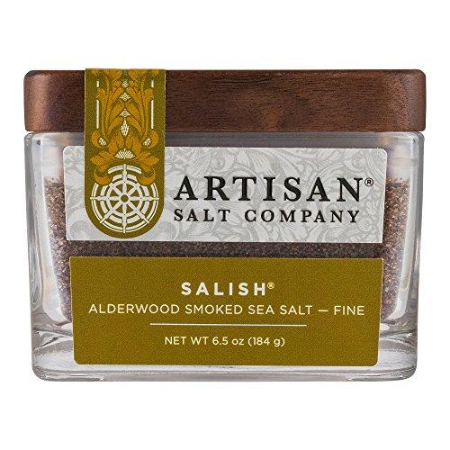 SaltWorks Salish Alderwood Smoked Sea Salt, Fine, Boutique Glass Jar, 6.5 Ounce