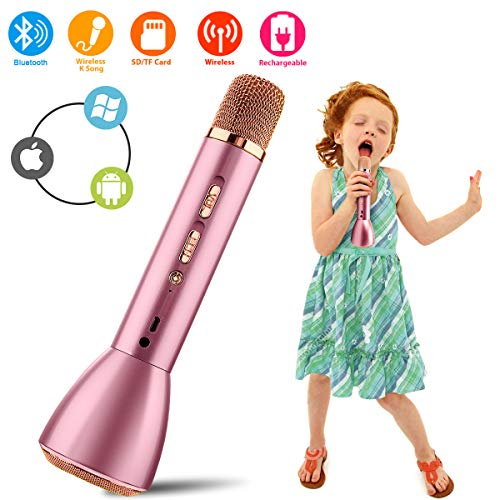 ke Microphone, Bluetooth Handheld Karaoke Machine with Speaker Mic Party KTV Home Mike Systems, Portable Led Music Singing Equipment for iPhone/Android/iOS/Smartphone Kids Adults ()