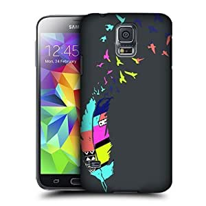 AIYAYA Samsung Case Designs Bird Grey Neon Feathers Protective Snap-on Hard Back Case Cover for Samsung Galaxy S5