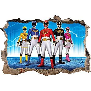 POWER RANGERS Smashed Wall Decal Removable Graphic Wall Sticker Mural H206,  Large