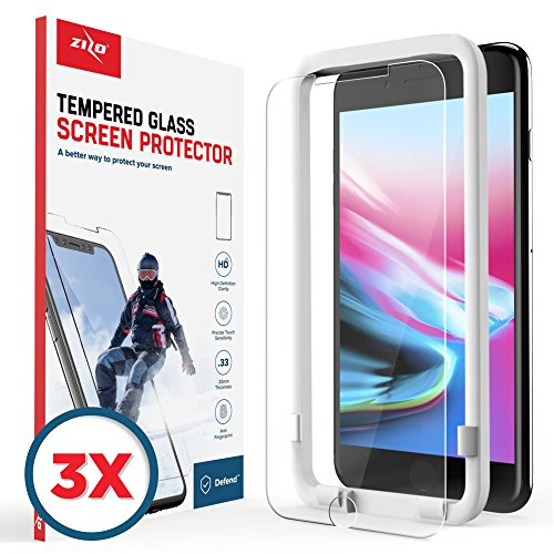 Zizo 3 Pack Glass Compatible with iPhone 8 Plus Tempered Glass Screen Protector Anti Scratch 9H Hardness iPhone 7 Plus Screen Protector