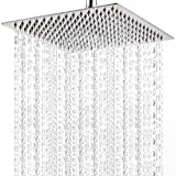 Large Rainfall Shower Head, Voolan Adjustable 12'' Luxury Showerhead for Bathroom, High Flow Stainless Steel Bath Shower for Best Relaxation, Universal Wall and Ceiling Mount (Square)