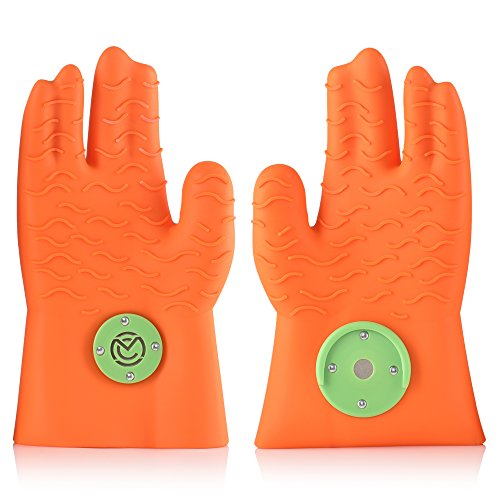 Silicone Wave (Heat Resistant Silicone BBQ Gloves – Ergonomic web fit allows for firm grip - Patented magnet safety clip allows for rapid release of one or both hands – Grip waves for pulling pork - No more claws)