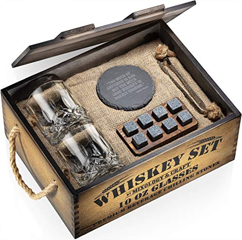 Whiskey Stones Gift Set for Men | Whiskey Glass and Stones Set with Rustic Dark Wood Crate, 8 Granite Whiskey Rock…