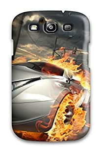Protective Tpu Case With Fashion Design For Galaxy S3 (destructive Car Race)