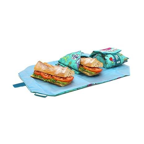 Rolleat BocnRoll, KIDS Princesas , Porta bocadillos reutilizable , bolsa merienda , funda bocadillo, Sin BPA, Turquesa