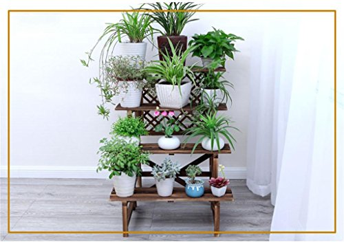 Sam@ Antistatic wood interior ladder flower stand solid wood balcony multi - layer wooden flower shelf multi - flower flower pot rack Plant Rack Organizer (Size : 78cm) -