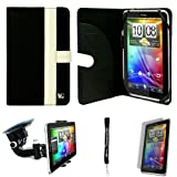 Black White Canvas Jacket Portfolio Cover Carrying Protective Case for HTC Flyer 3G WiFi HotSpot GPS 5MP 16GB Android OS AD2P 7 Inch Tablet Device + Includes a eBigValue (TM) Determination Hand Strap + Includes a Anti Glare Screen Protector + Includes a 3