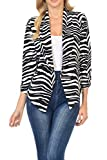 Auliné Collection Womens 3/4 Sleeve Casual Work Lined Open Front Cardigan Blazer Zebra XL