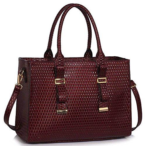 TrendStar - Bolso de tela de piel sintética para mujer L Burgundy Handbag