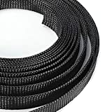 10m Length Braided Cable Sleeve 6/8/10/12/15mm Diameter Black Wire Wrapper Protecting PET Nylon Cable Sleeves Mayitr