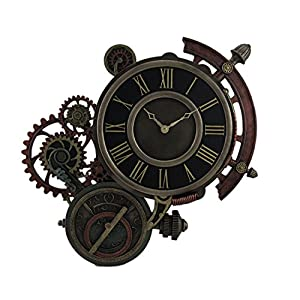 Zeckos Mechanical Steampunk Astrolabe Star Tracker Wall Clock 17 Inch